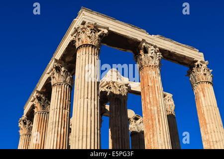 Standing Corinthian columns, early morning, Temple of Olympian Zeus, Athens, Greece, Europe - Stock Photo