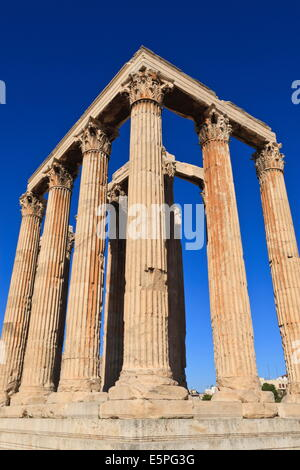 Standing Corinthian columns, early morning, Temple of Olympian Zeus, Athens, Greece, Europe - Stock Photo