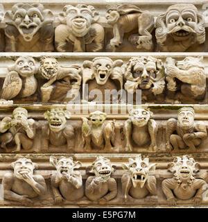 Grotesque gargoyles at York Minster, North Yorkshire, England. - Stock Photo