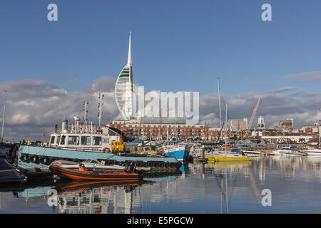 Spinnaker Tower and Camber Docks, Portsmouth, Hampshire, England, United Kingdom, Europe - Stock Photo