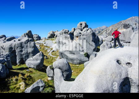 Woman standing on the limestone outcrops of Castle Hill, Canterbury, South Island, New Zealand, Pacific - Stock Photo