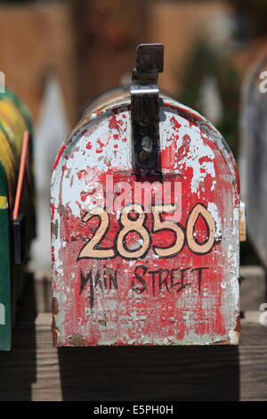 Mail Box, Madrid, former mining town in the Ortiz Mountains, Turquoise Trail, New Mexico, United States of America - Stock Photo