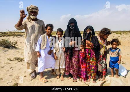 Rashaida family in the desert around Massawa, Eritrea, Africa - Stock Photo