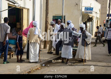 Street scene in the town of Keren, Eritrea, Africa - Stock Photo