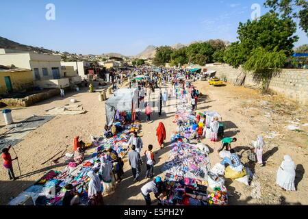 The colourful Monday market of Keren, Eritrea, Africa - Stock Photo