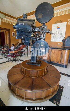 Old film projector, Italian cinema Roma, Asmara, capital of Eritrea, Africa - Stock Photo