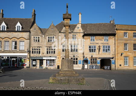 Medieval Market Cross in the Market Square, Stow-on-the-Wold, Cotswolds, Gloucestershire, England, United Kingdom, - Stock Photo