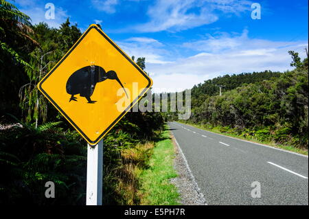 Kiwi warning sign along the road between Fox Glacier and Greymouth, South Island, New Zealand, Pacific - Stock Photo