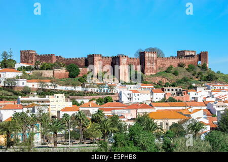 Silves skyline with the Moorish castle and the Cathedral, Silves, Algarve, Portugal, Europe - Stock Photo