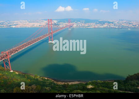 Ponte 25 de Abril (25th of April Bridge) over the Tagus River, Lisbon, Portugal, Europe - Stock Photo