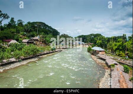 Bohorok River flowing through Bukit Lawang, Sumatra, Indonesia, Southeast Asia, Asia - Stock Photo