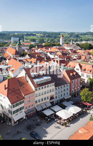 View from Blaserturm Tower, old town, Ravensburg, Upper Swabia, Baden Wurttemberg, Germany, Europe - Stock Photo