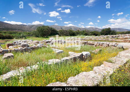 Minoian Palace, excavation site,  Malia, Heraklion, Crete Island, Crete, Greece - Stock Photo