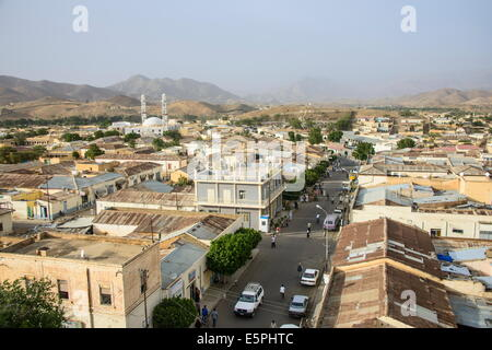 View over the town of Keren in the highlands of Eritrea, Africa - Stock Photo