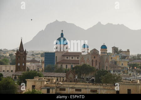View over the town of Keren and the church of St. Anthony in the center, in the highlands of Eritrea, Africa - Stock Photo