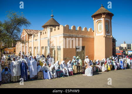 Orthodox women praying at the Easter ceremony, Coptic Cathedral of St. Mariam, Asmara, capital of Eritrea, Africa - Stock Photo