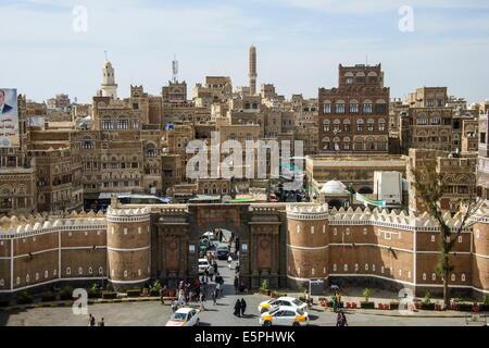 Bab al Yemen and the Old Town, UNESCO World Heritage Site, Sanaa, Yemen, Middle East - Stock Photo