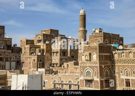 Traditional build old houses in the Old Town, UNESCO World Heritage Site, Sanaa, Yemen, Middle East - Stock Photo