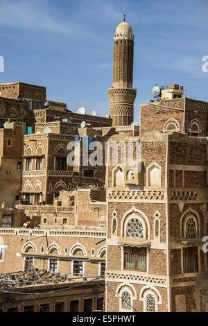 Traditional old houses in the Old Town, UNESCO World Heritage Site, Sanaa, Yemen, Middle East - Stock Photo
