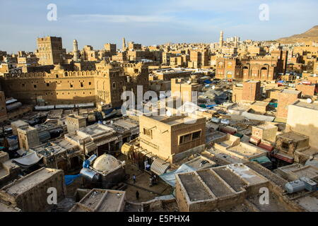 View at sunset over the Old Town, UNESCO World Heritage Site, Sanaa, Yemen, Middle East - Stock Photo
