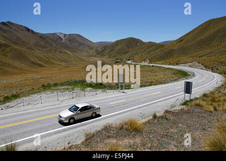 Lindis Pass, near Omarama, Otago, South Island, New Zealand, Pacific - Stock Photo
