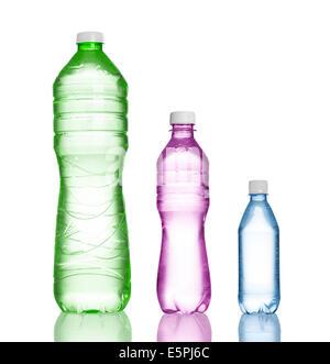three plastic bottles isolated on white - Stock Photo