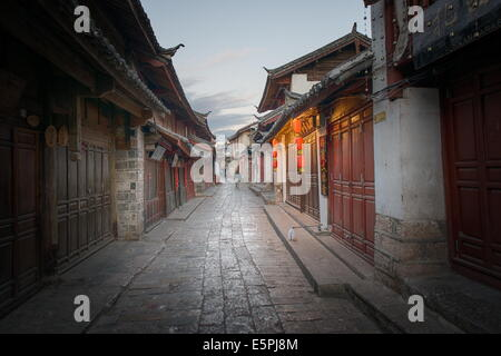 Shortly after sunrise, Lijiang Old Town, UNESCO World Heritage Site, Lijiang, Yunnan, China, Asia - Stock Photo