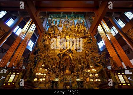 GuanYin Buddha with many smaller Buddhas at Yong Fu Temple, Hangzhou, Zhejiang, China, Asia - Stock Photo
