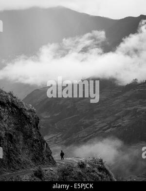 View through valley, Sorata, Cordillera Real, Bolivia, South America - Stock Photo
