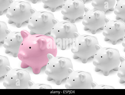 Group of white piggy banks and big pink piggy bank - Stock Photo