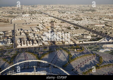Aerial view of Doha from the Aspire Tower viewing platform, Doha, Qatar, Middle East - Stock Photo