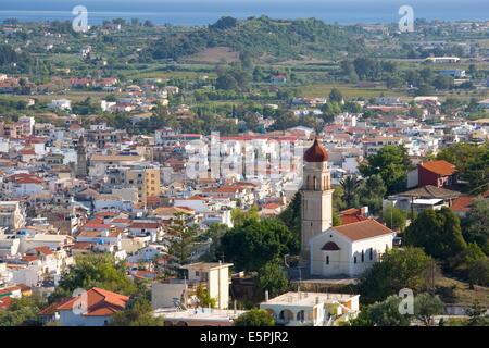 View over city rooftops, Zakynthos Town, Zakynthos (Zante) (Zakinthos), Ionian Islands, Greek Islands, Greece, Europe - Stock Photo