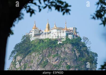 Buddhist temple on Popa Taung Kalat, Mount Popa, Myanmar (Burma), Asia - Stock Photo