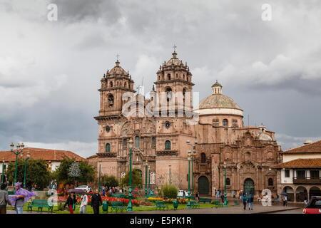 View over Iglesia de la Compania de Jesus church on Plaza de Armas, Cuzco, UNESCO World Heritage Site, Peru, South - Stock Photo