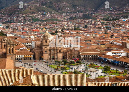 Elevated view over Cuzco and Plaza de Armas, Cuzco, UNESCO World Heritage Site, Peru, South America - Stock Photo