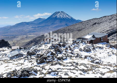 View from Mount Ruapehu of Mount Ngauruhoe, Tongariro National Park, UNESCO Site, North Island, New Zealand - Stock Photo