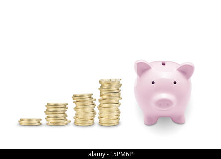 Pink piggy bank and coins. Isolated on white - Stock Photo