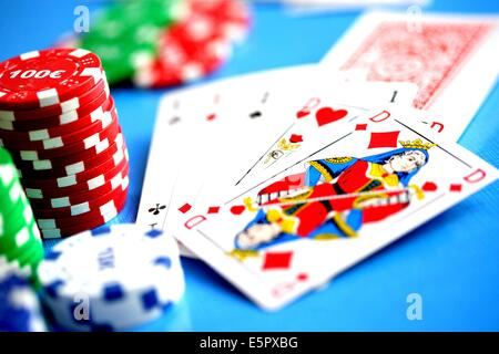 Cards, chips, and dice. - Stock Photo
