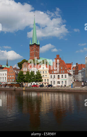 View over the Lübecker St. Petri Church / Petrikirche along the river Trave at Obertrave in Lübeck, Schleswig-Holstein, - Stock Photo