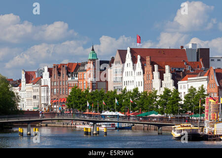 View over the river Trave at Obertrave in the Hanseatic town Lübeck, Schleswig-Holstein, Germany - Stock Photo
