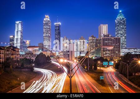 Atlanta, Georgia, USA skyline at night. - Stock Photo