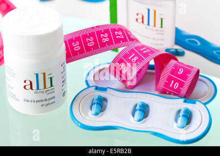 Alli is a half-dose version of the diet drug Xenical (Orlistat) produced by GlaxoSmithKline (GSK). - Stock Photo