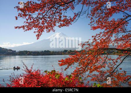 Mt. Fuji, Japan at Lake Kawaguchi during the autumn season. - Stock Photo