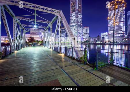 Yokohama, Japan at Minato Mirai park and pedestrian bridge. - Stock Photo