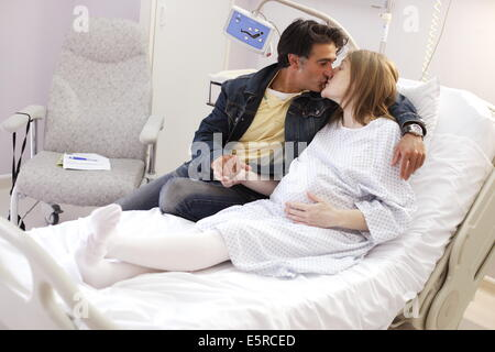 Woman at hospital before a planned delivery, Obstetrics and gynaecology department, Saintonge hospital, Saintes, - Stock Photo