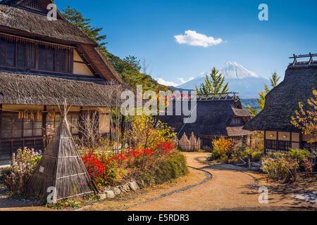 Mt. Fuji, Japan viewed from Iyashi-no-sato historic village. - Stock Photo