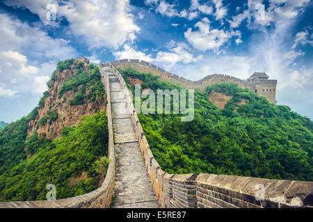 Great Wall of China. Unrestored sections at Jinshanling. - Stock Photo
