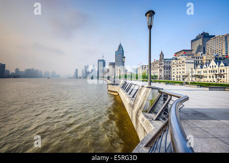 Shanghai, China at the Bund in the early morning. - Stock Photo