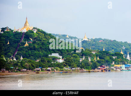 Southeast Asia, Myanmar (Burma), Mandalay, Sagaing Hill, Irrawaddy River - Stock Photo
