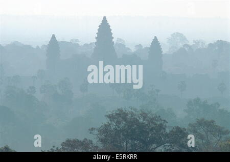 The world's largest religious monument and an architectural masterpiece, Angkor Wat in Cambodia - Stock Photo